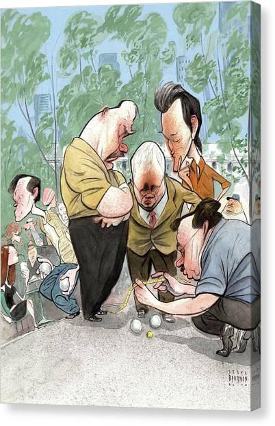 Manhatan Canvas Print - New Yorker August 2nd, 2010 by Steve Brodner
