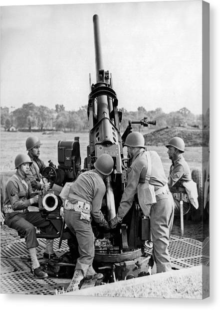 Hard Hat Canvas Print - Troops At Artillery Training by Underwood Archives