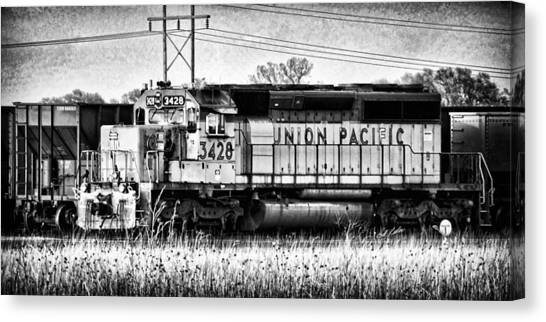 Pacific Division Canvas Print - Up 3428 Rcl Locomotive In Black-and-white by Bill Kesler