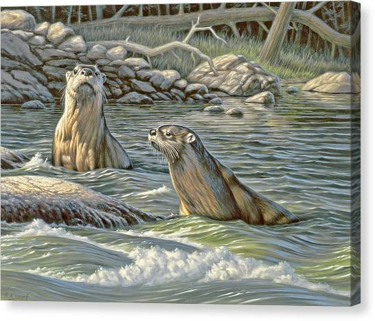 Otters Canvas Print - Up For Air - River Otters by Paul Krapf
