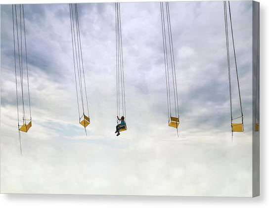 Swing Canvas Print - Up In The Air! by Marius Cintez?