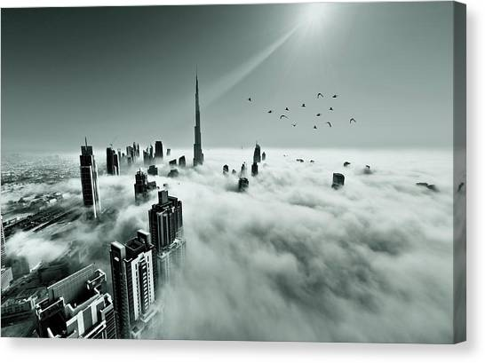 Dubai Skyline Canvas Print - Up Up And Above by