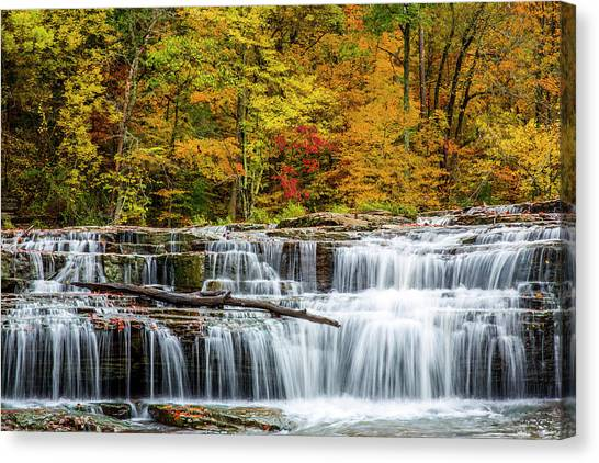 Indiana Autumn Canvas Print - Upper Cataract Falls On Mill Creek by Chuck Haney