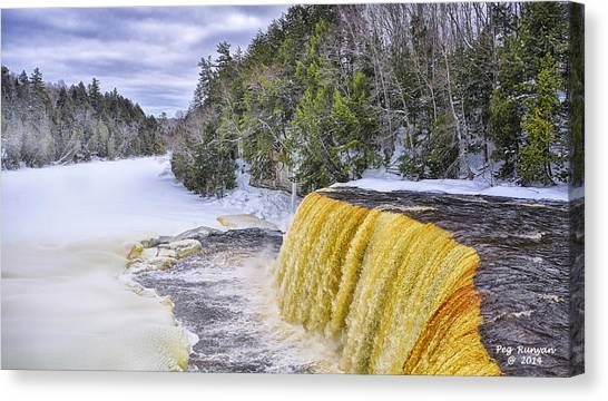 Canvas Print - Upper Tahquamenon Falls In Winter by Peg Runyan