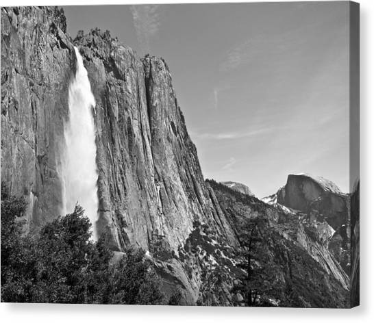 Upper Yosemite Fall With Half Dome Canvas Print