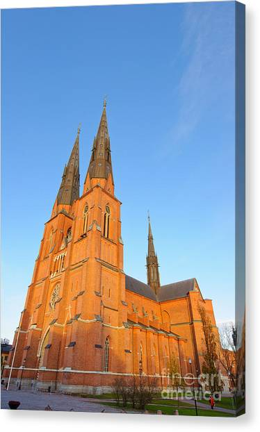 Uppsala Cathedral In Sweden - Glowing In The Evening Light Canvas Print