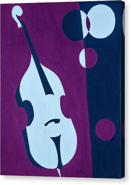 Bass Guitars Canvas Print - Upright Jazz by Brian Broadway