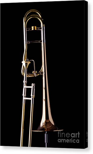 Upright Rotor Tenor Trombone On Black In Color 3465.02 Canvas Print