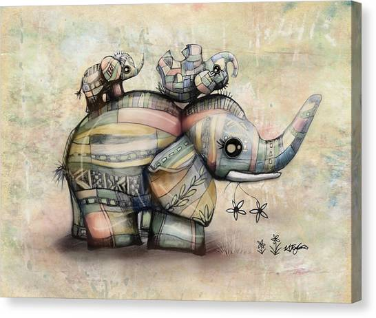 Baby Taylors Canvas Print - Upside Down Elephants by Karin Taylor