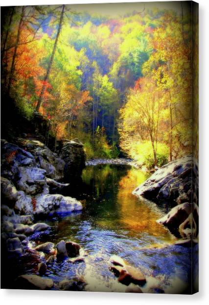 Gatlinburg Tennessee Canvas Print - Upstream by Karen Wiles