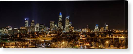 Uptown Charlotte Panorama Canvas Print