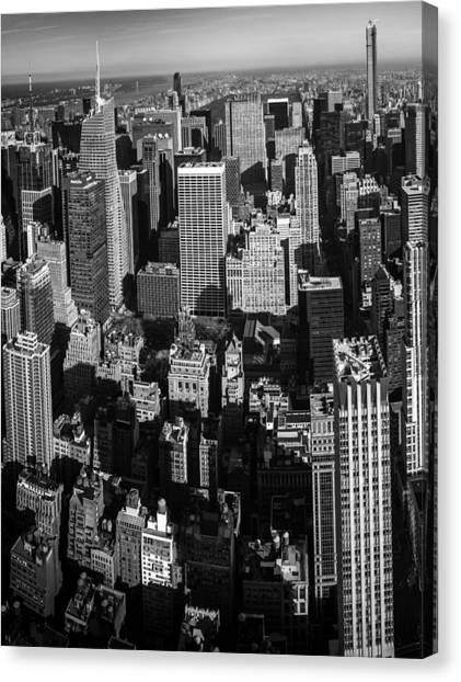 Sunset Canvas Print - Uptown Manhattan Triptych Left by David Morefield