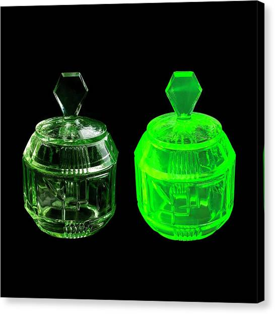 Canaries Canvas Print - Uranium Glass Fluorescing by Science Photo Library