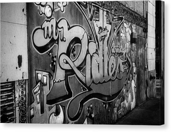 Urban Decay In Black And White Canvas Print by John Hoey