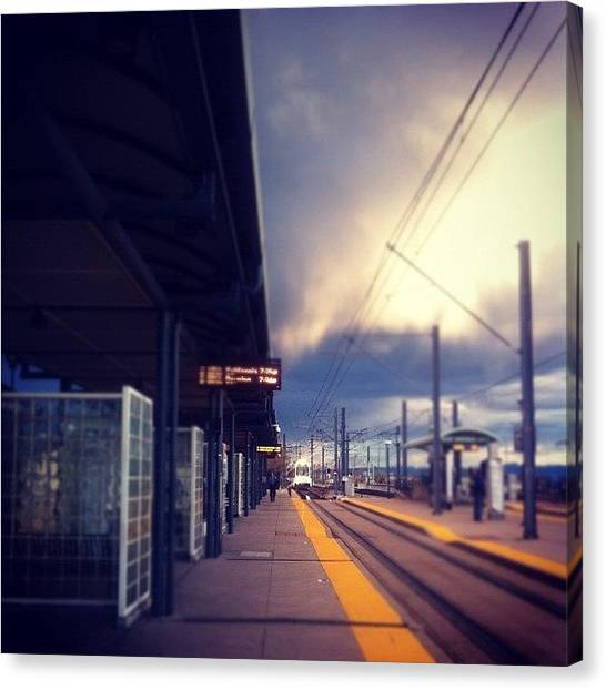 Light Rail Canvas Print - #urban #denver by Amberly Rose