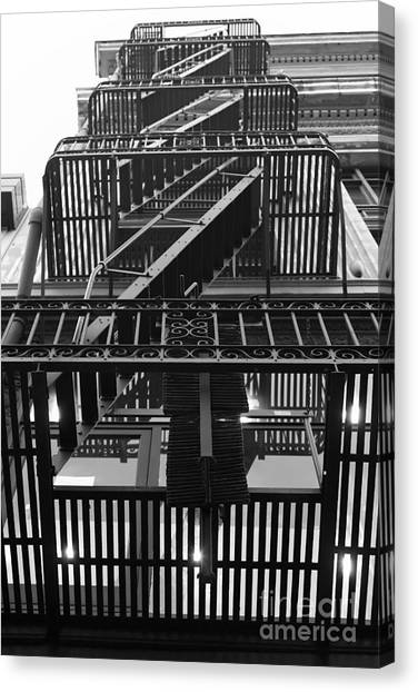 Urban Fabric - Fire Escape Stairs - 5d20592 - Black And White Canvas Print by Wingsdomain Art and Photography