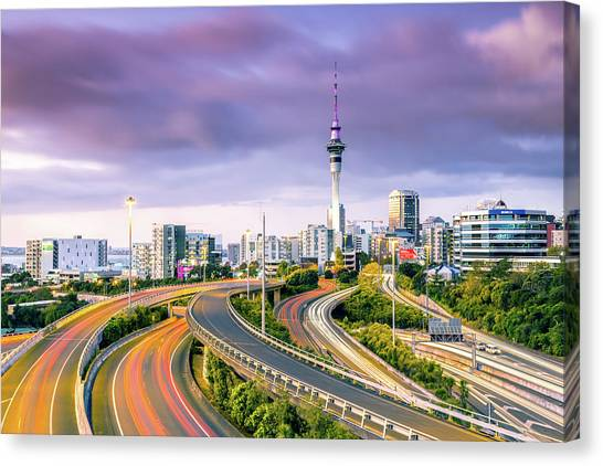 Urban Roads With Traffic Leading To Canvas Print by Matteo Colombo