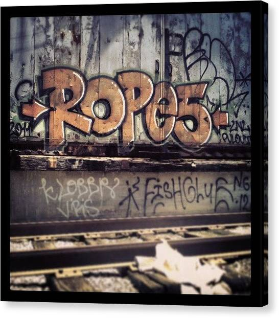 Warehouses Canvas Print - #urbanart #graffiti #neworleans by Glen Abbott