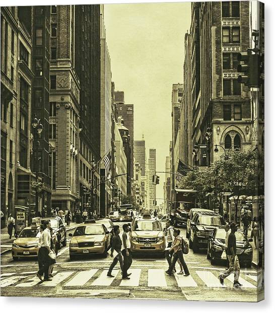 Backpacks Canvas Print - Urbanites by Andrew Paranavitana