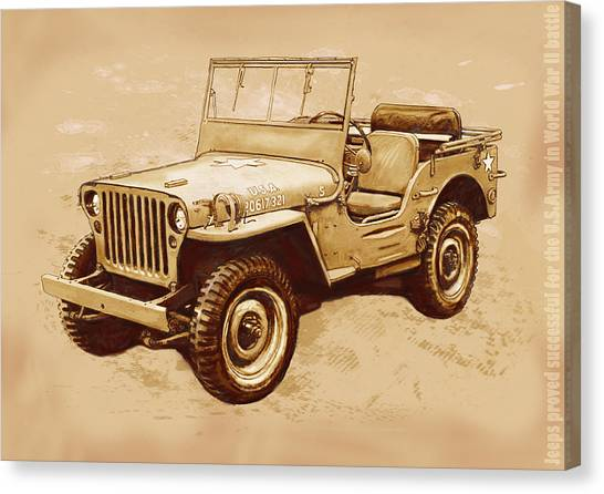 4x4 Canvas Print - Us Army Jeep In World War 2 - Stylised Modern Drawing Art Sketch by Kim Wang