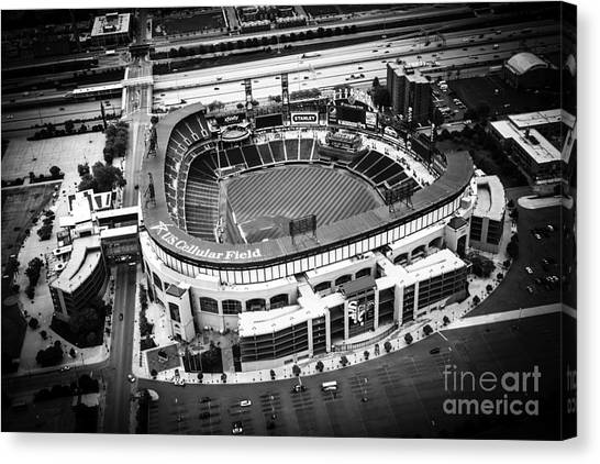Chicago White Sox Canvas Print - U.s. Cellular Field Aerial Picture In Black And White by Paul Velgos