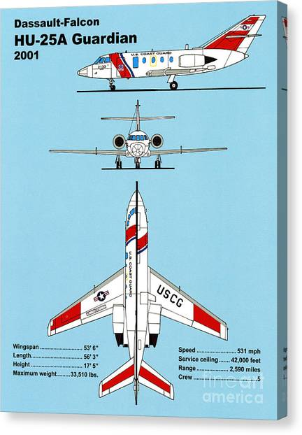 Coast Guard Canvas Print - Coast Guard Dassault-falcon by Jerry McElroy - Public Domain Image