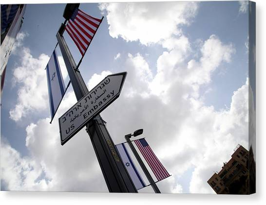 'us Embassy' Signs Appear On Streets Of Jerusalem Canvas Print by Anadolu Agency