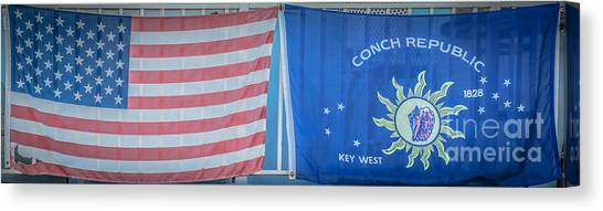 Conch Canvas Print - Us Flag And Conch Republic Flag Key West  - Panoramic - Hdr Style by Ian Monk