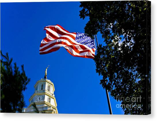 Flag And Moroni Canvas Print