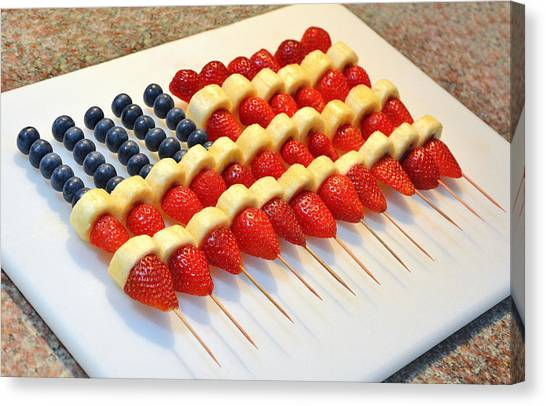 American Flag Fruit Kabobs Canvas Print