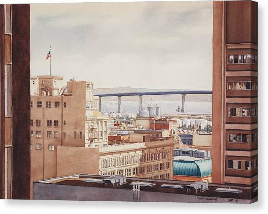 Hotels Canvas Print - Us Grant Hotel In San Diego by Mary Helmreich