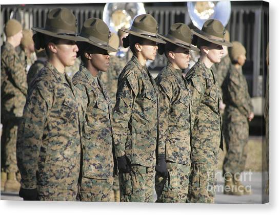 Canvas Print featuring the photograph U.s. Marine Corps Female Drill by Stocktrek Images