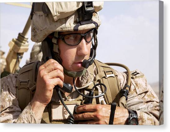 Nato Canvas Print - U.s. Marine Talks Over The Radio by Stocktrek Images