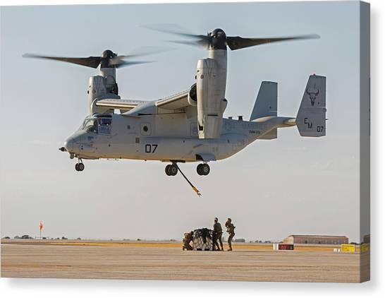 Mv Canvas Print - Us Marines Deploying From Tiltrotor Aircraft by Us Marine Corps/science Photo Library