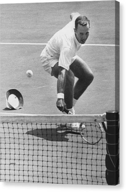 Tennis Racquet Canvas Print - U.s. Mexico Davis Cup Playoffs by Underwood Archives