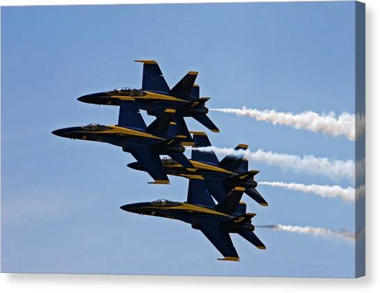 National Guard Canvas Print - Us Navy Blue Angels Aerobatics Display by Jim West
