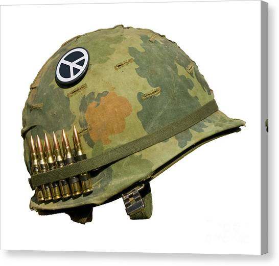 Us Vietnam War Helmet - Peace Button Canvas Print