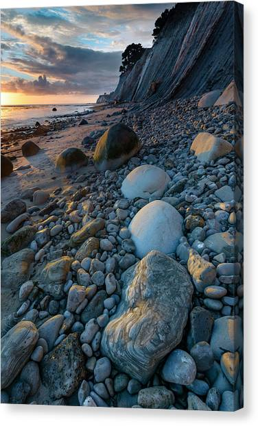 Bowling Ball Canvas Print - Usa, California Sunset On The Emerging by Judith Zimmerman