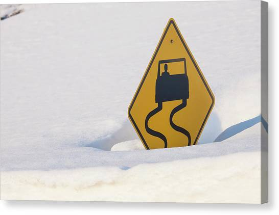 Caution Canvas Print - Usa, Colorado A Slippery When Wet Sign by Jaynes Gallery