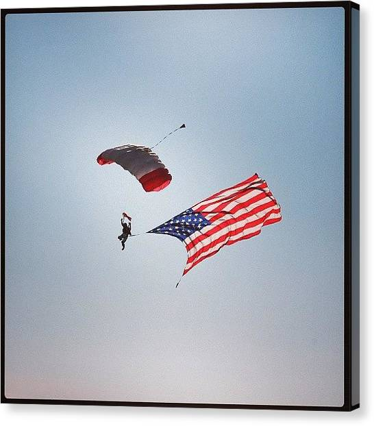 Paratroopers Canvas Print - #usa #flag #fly #unitedstates by Alex Garcia