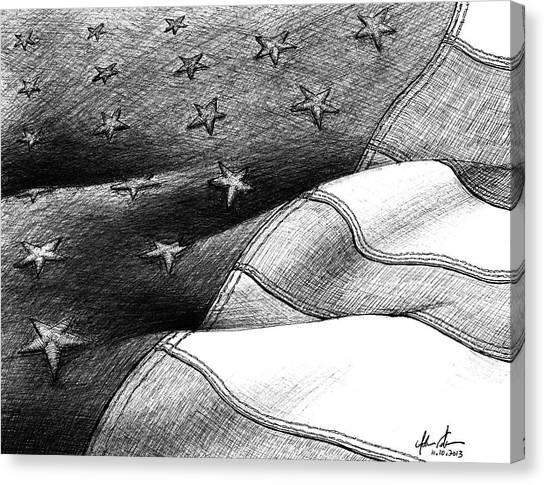 Ballpoint Pens Canvas Print - Usa Flag Of Freedom by Adam Vereecke
