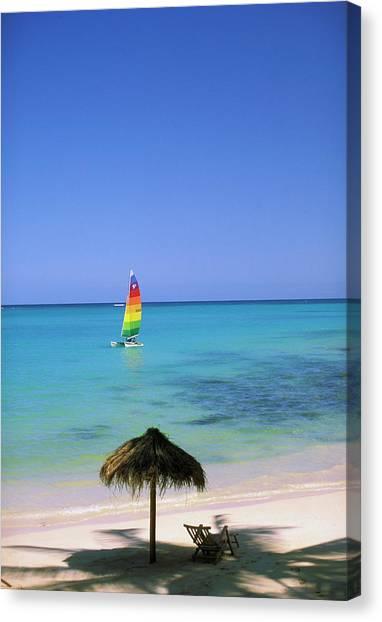 Catamarans Canvas Print - Usa, Hawaii Catamaran And Beach Scene by Sunstar