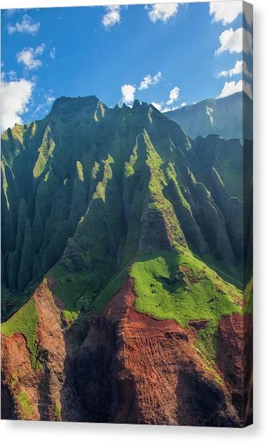 Beach Cliffs Canvas Print - Usa, Hawaii, Kauai, Aerial by Terry Eggers