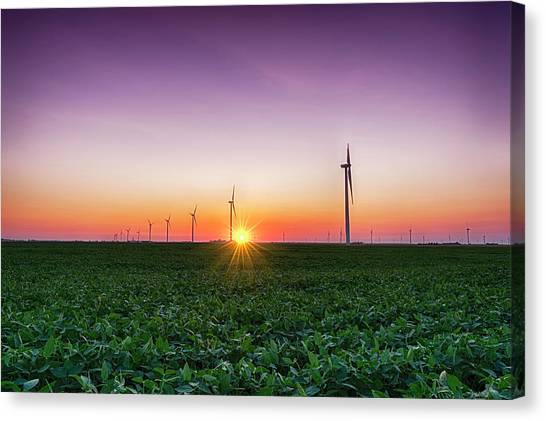 Wind Farms Canvas Print - Usa, Indiana Soybean Field And Wind by Rona Schwarz