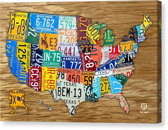 Iowa Canvas Print - Usa License Plate Map Car Number Tag Art On Light Brown Stained Board by Design Turnpike