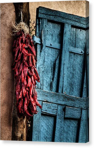 Usa, New Mexico, Taos, Gate And Ristra Canvas Print by Ann Collins