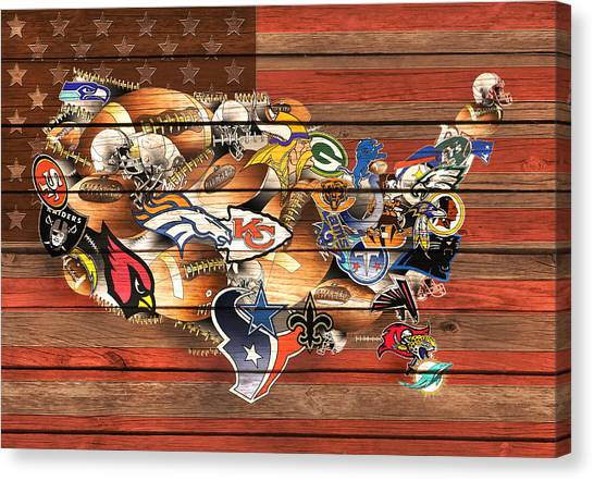 Miami Dolphins Canvas Print - Usa Nfl Map Collage 10 by Bekim Art