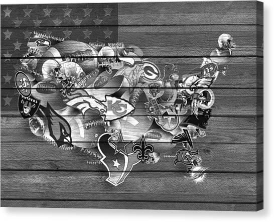 Linebackers Canvas Print - Usa Nfl Map Collage 11 by Bekim Art