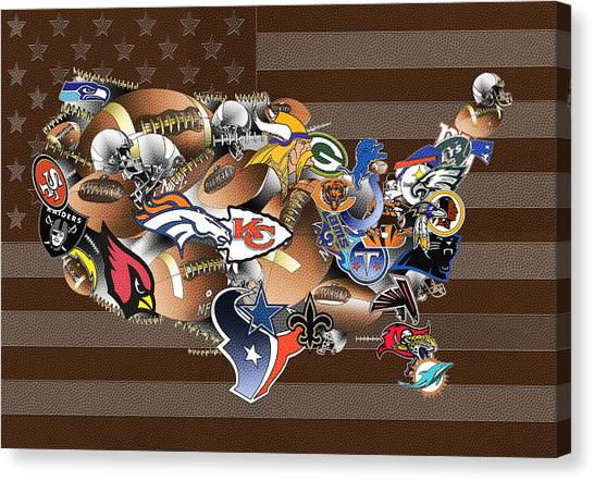 Linebackers Canvas Print - Usa Nfl Map Collage 2 by Bekim Art