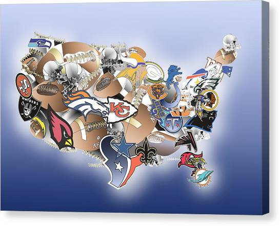 Linebackers Canvas Print - Usa Nfl Map Collage by Bekim Art